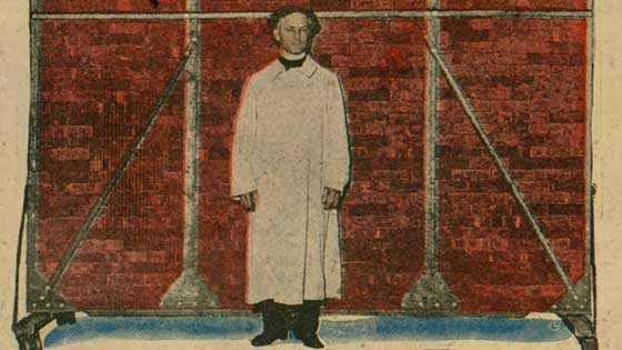 Images glued together to look like Houdini in front of a red wall that he will be walking through