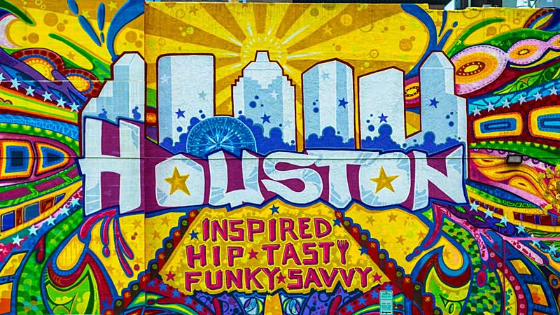 The vibrant city of Houston is written in murals