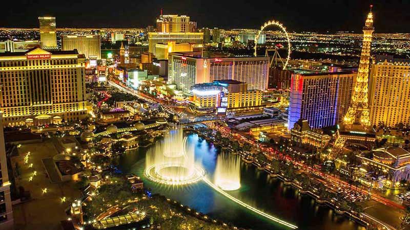 Night time aerial view of Vegas