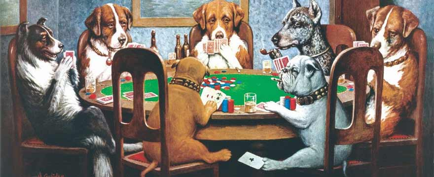 dogs cheating with playing cards