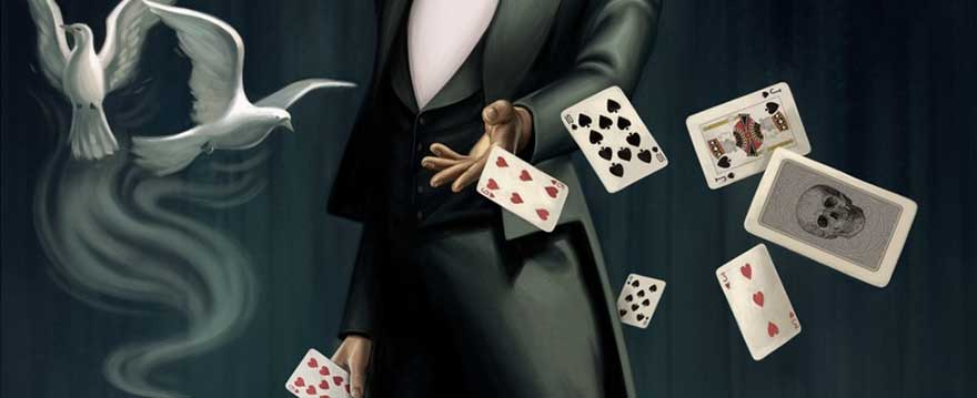 magician performing card tricks with white dove flying in background