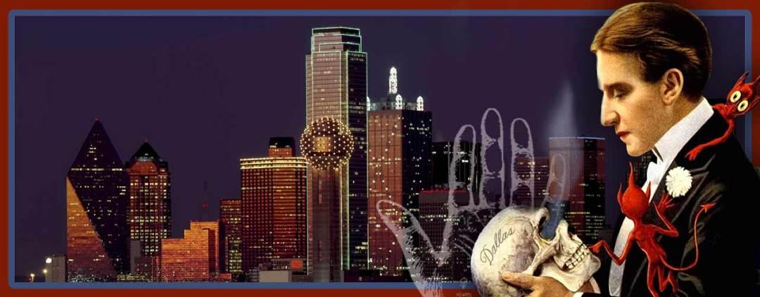 Magician with skull in Dallas Texas