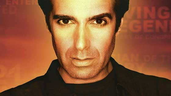 David Copperfield looking gaunt staring at the camera