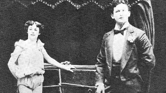 Promo photo of Harry and Bess Houdini at an early age demonstrating their two person metamorphosis illusion escape