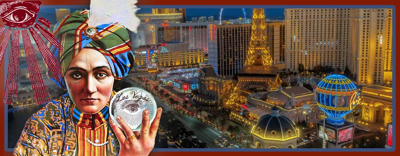 Magician with crystal ball in Las Vegas