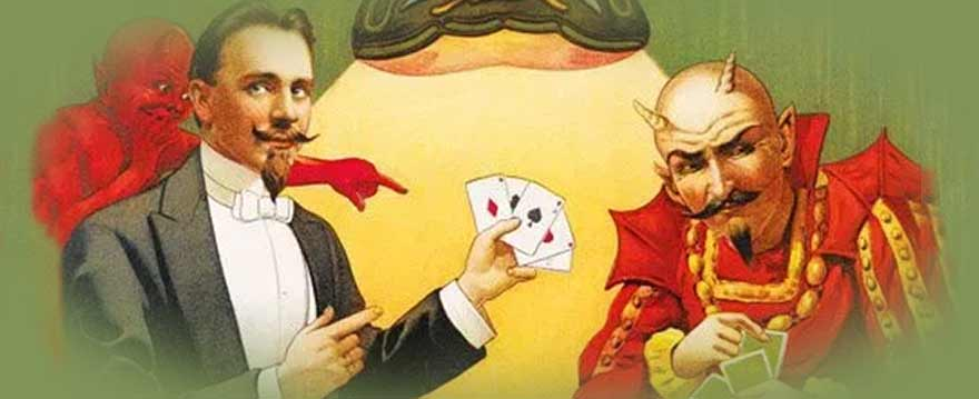 magician playing cards with devil