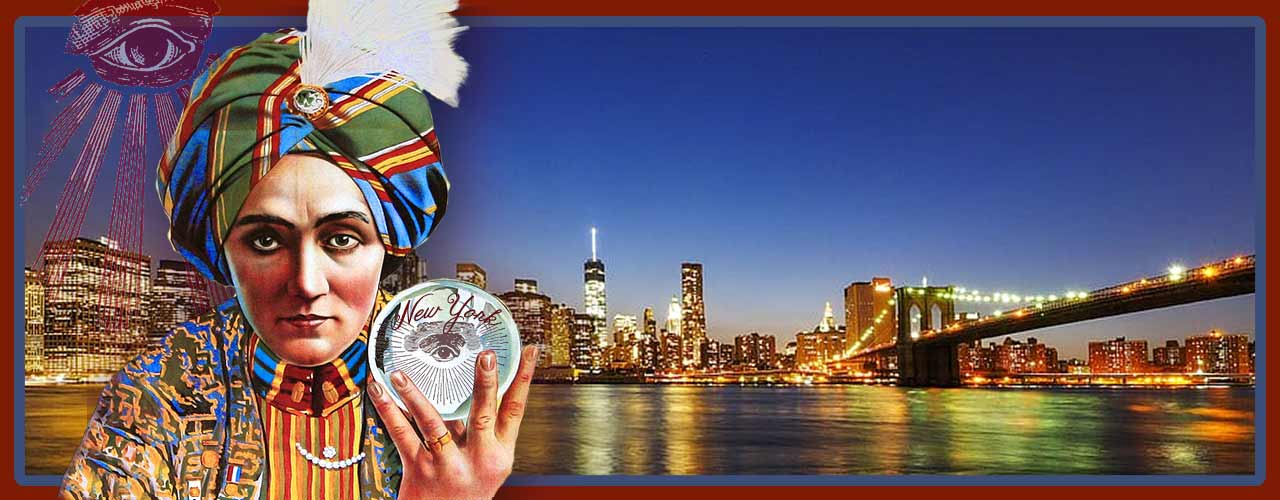 Magician with crystal ball in New York City