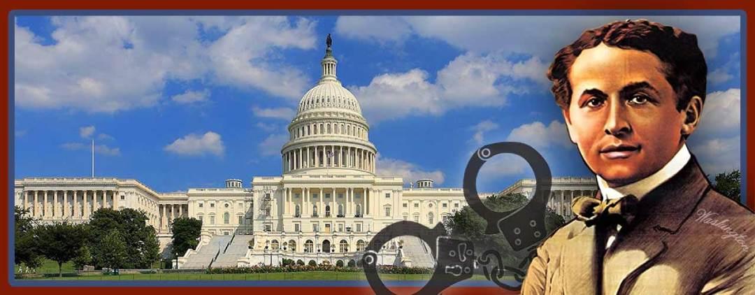 Houdini with handcuffs in Washington DC