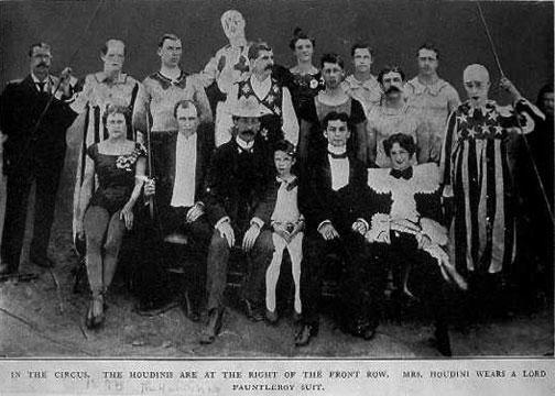 Harry & Bess Houdini with their circus buddies circa 1895