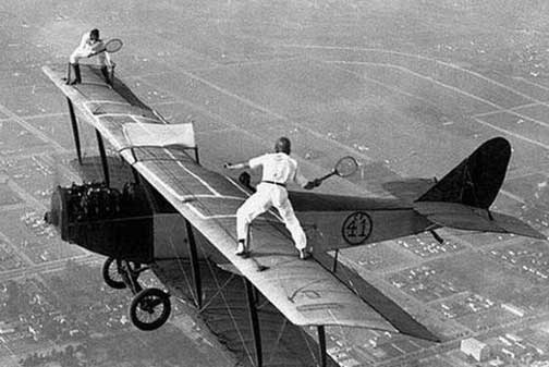 Playing tennis on the wings of an aeroplane