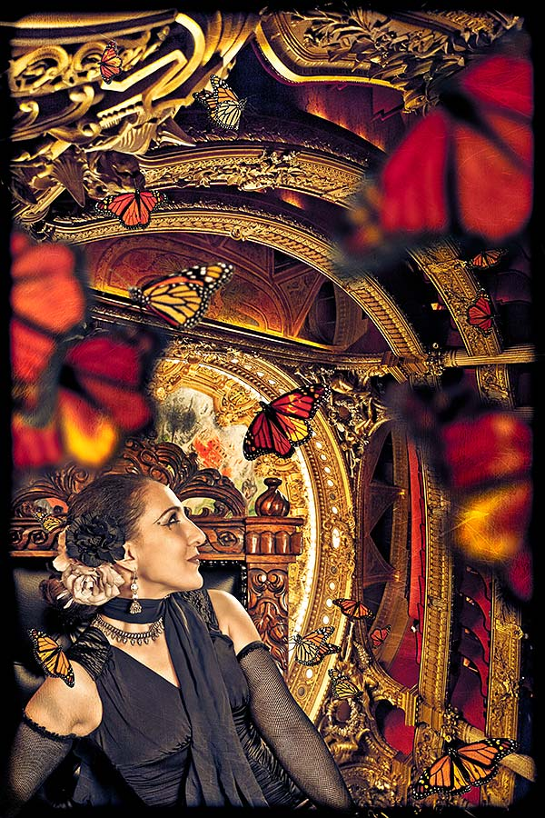 Susan at the Paris Opera with butterflies circling around her head