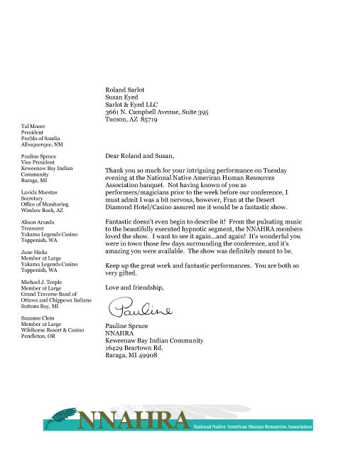 National Native American Human Resources Association review letter.