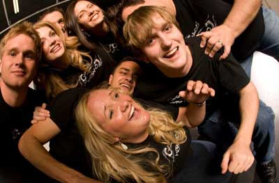 Chaos Comedy is a fun improv comedy night in Phoenix packed with a group of blondes in black t-shirts.