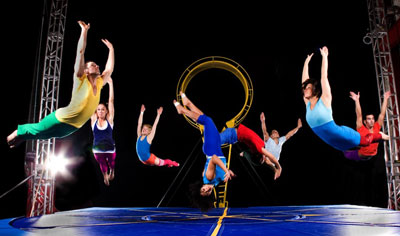 Herberger Theater Center offers performers jumping through space with bright costumes by mixing dance with trampolines.