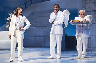 Arizona Theatre Company's Play of An Act of God with actors dressed in white looking like they're in heaven